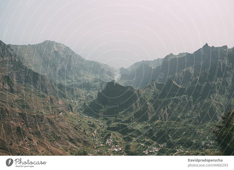 Mountain landscape with winding road mountain valley rock trip santo antao cape verde cabo verde africa slope path scenery travel picturesque tranquil