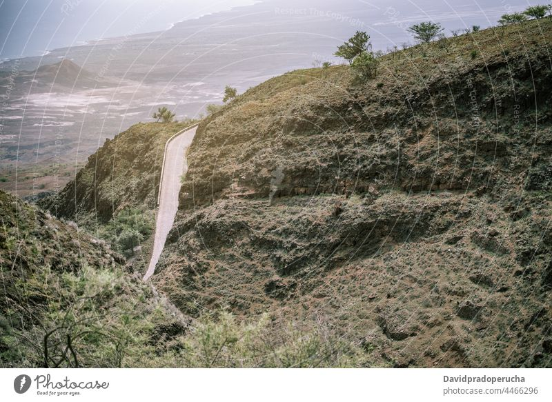 Mountain landscape with road mountain valley rock trip santo antao cape verde cabo verde africa slope path scenery travel picturesque tranquil breathtaking