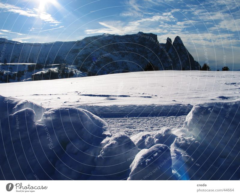 Nature Blue White Winter Landscape Cold Snow Graffiti Mountain Ice Alps Winter vacation South Tyrol