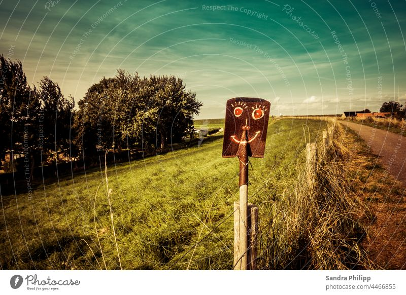 A painted face on a shovel stands by the wayside Shovel Face off Fence Sky Landscape Nature Exterior shot Street Lanes & trails Colour photo Deserted Grass