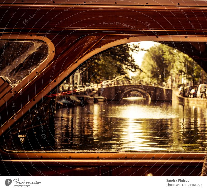 View from a ship's window onto several bridges in a row Amsterdam dam Bridges Gracht Old town Colour photo Exterior shot Deserted Tourist Attraction Town Water