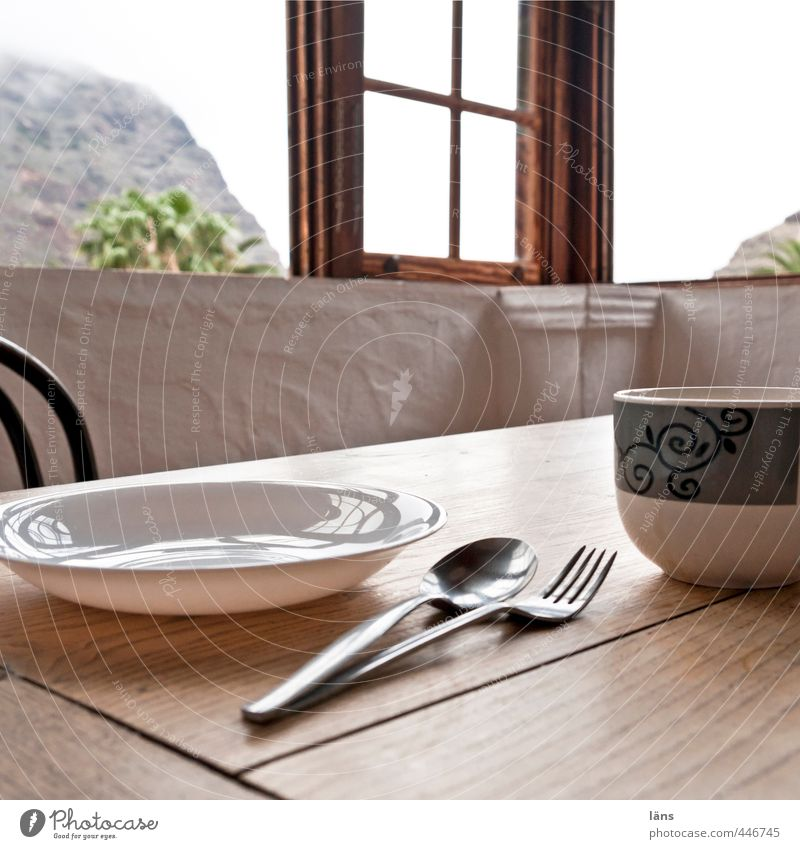 Heaven Window Wood Table Touch Appetite Crockery Cup Plate View from a window Cutlery Spoon Fork Window transom and mullion Furniture Dinner table