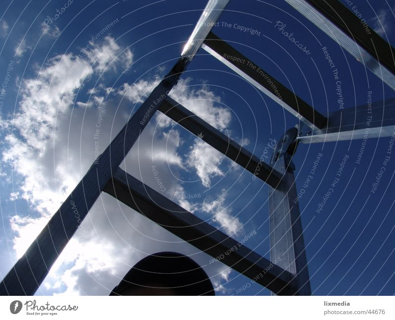Sky Sun Blue Clouds Tall Perspective Vantage point Leisure and hobbies Upward Ladder Go up Stairs