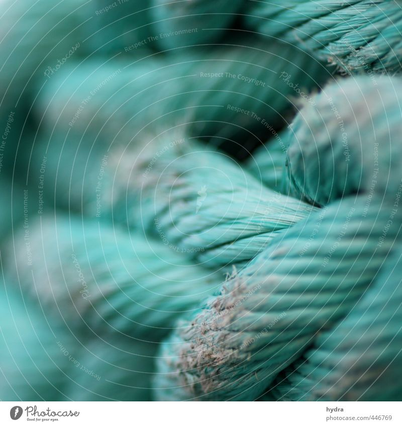 Old Green Power Success Rope Might Safety Protection Network To hold on Plastic Harbour Strong Firm Navigation Turquoise