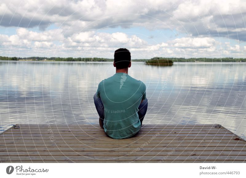 rest Harmonious Relaxation Calm Meditation Far-off places Lake Footbridge Masculine Man Adults Body 1 Human being 18 - 30 years Youth (Young adults) Landscape