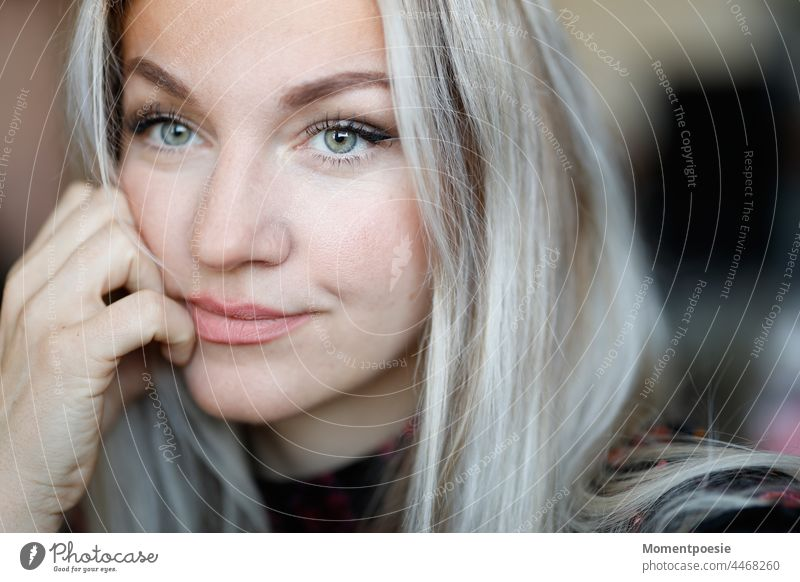 Blonde woman Woman portrait Smiling Long-haired green eyes Face feminine Authentic pretty naturally Young woman Esthetic Adults Beauty & Beauty Skeptical