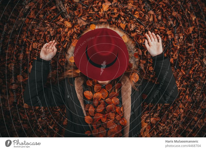 girl with hat enjoying autumn forest alone autumn colors autumn leaves autumn vibes background beautiful beautiful woman caucasian celebration clean closed eyes