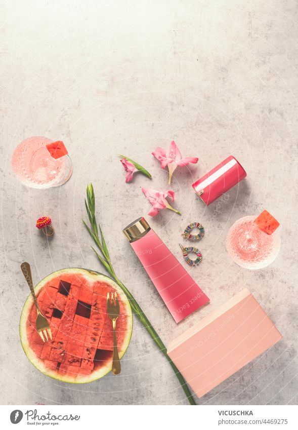 Watermelon cosmetic on table with fruits cocktails , top view. Facial moisturizing skin care. Beauty concept watermelon facial beauty concept refreshment