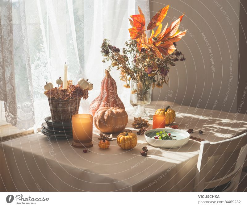 Autumnal decorated kitchen table with various pumpkins, candles, flowers and fall leaves arrangement , plate and cutlery. Morning sunlight from window. Domestic still life