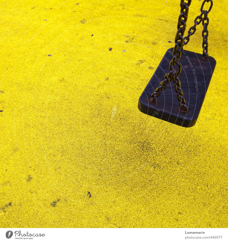 up & down Playing Swing Dirty Yellow Black Colour Leisure and hobbies Joy Infancy Break Stagnating Change Seat Deserted Free Playground Tracks Shabby