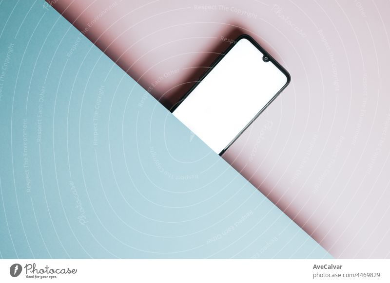 Top view of mobile phone screen blank template on pink and blue background with copy space, minimal design, shapes, colorful background, young style , transgender flag,