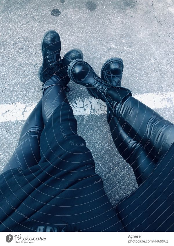 Rock will never die as well as friendship - leather legs friends together Leather Black Legs two persons two women Boots Border crossing foots Asphalt Pants