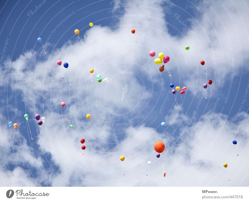#222# colorful greetings Air Sky Clouds Flying Tall Balloon Salutation Go up Multicoloured Dye Blue sky White Feasts & Celebrations Rubber Helium Hover