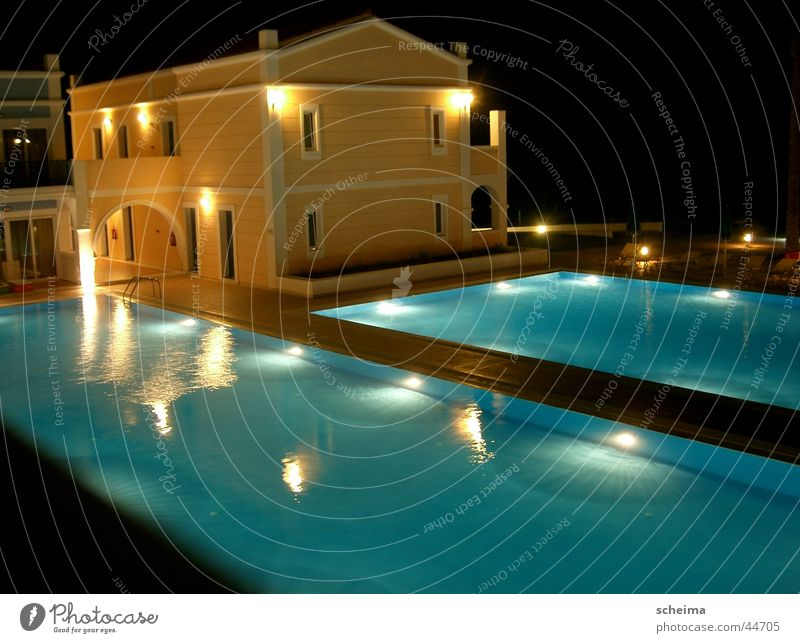 sapphire basin Hotel Swimming pool Night House (Residential Structure) Blue-yellow Architecture Lighting