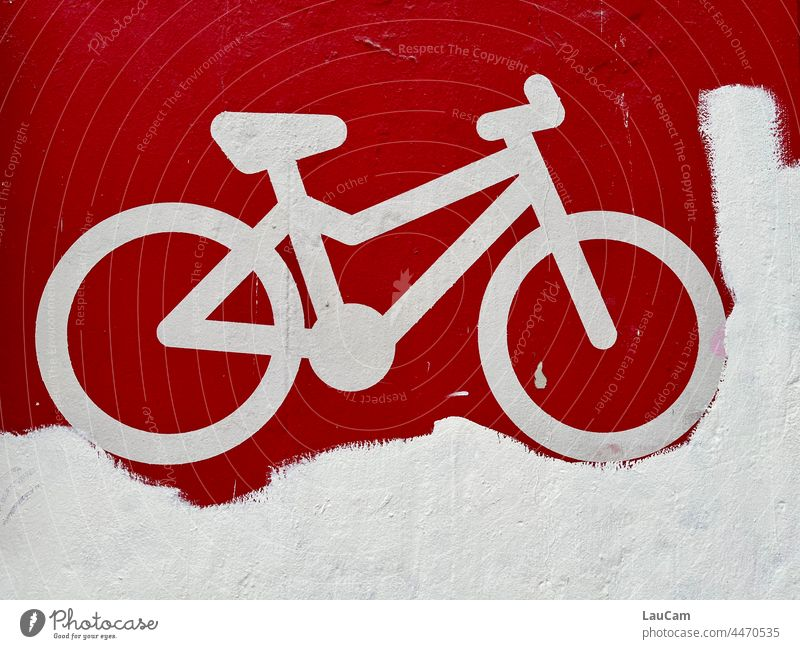 Stuck - white bike on red background Bicycle Cycling Cycling tour Cycle path Wheel Means of transport Mobility Movement Eco-friendly Leisure and hobbies