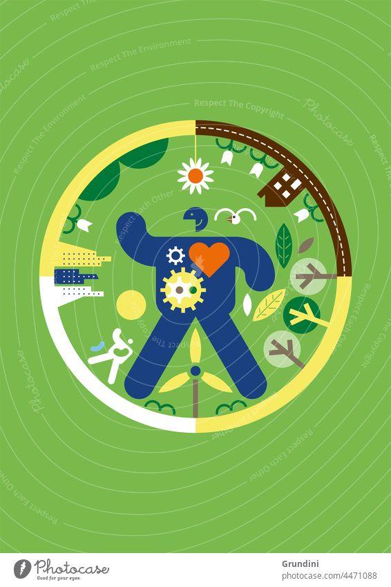 Eco cycle Ecology Illustration Graphic Simple Ecological Windturbine Leafs Climatechange Renewableenergy Renewables Man