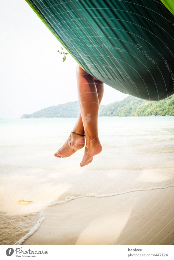 Hammock V Woman Human being Legs Feet Toes Hang Relaxation Vacation & Travel Beach Sandy beach Asia Thailand Sleep Travel photography Summer Paradise Deserted