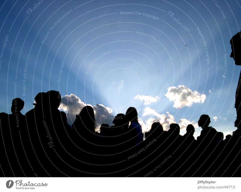Sundown on Southside Sunbeam Clouds Twilight Group Human being Evening Music festival Shadow Sky Silhouette Happy Freedom