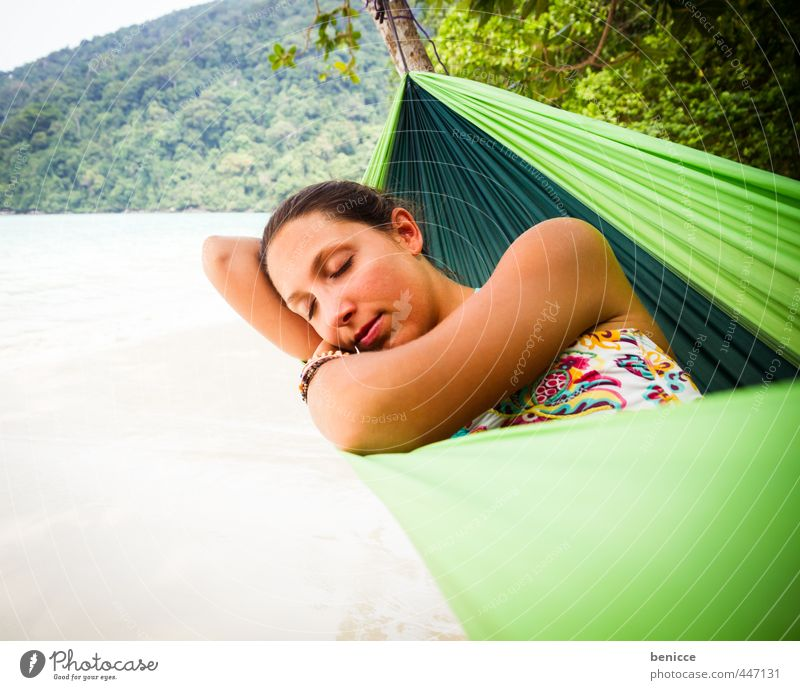 Hammock II Woman Human being Relaxation Vacation & Travel Beach Sandy beach Asia Thailand Lie Sleep Bikini Summer Paradise Deserted Loneliness Individual Girl
