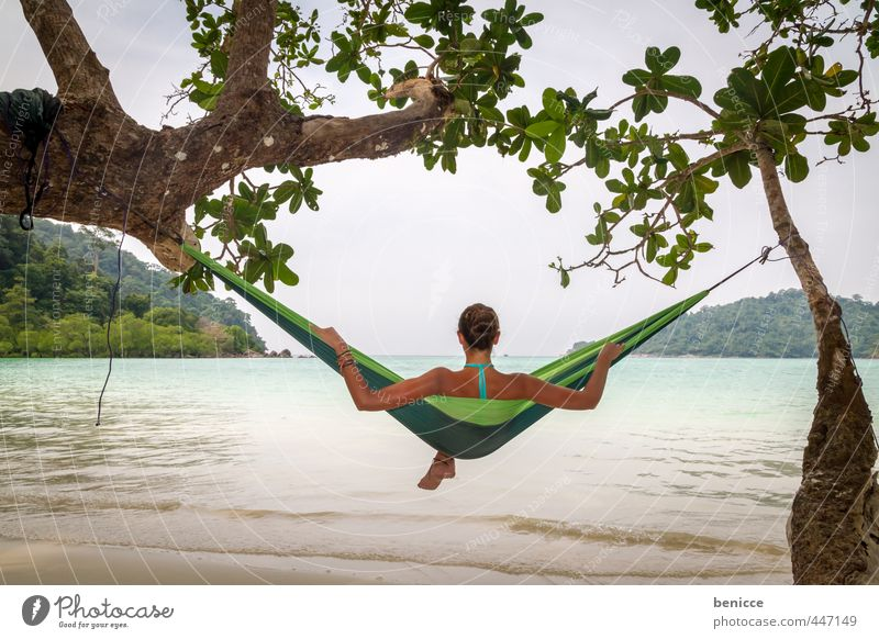 Hammock IV Woman Human being Relaxation Vacation & Travel Beach Sandy beach Asia Thailand Lie Couch Sleep Travel photography Bikini Summer Paradise Deserted