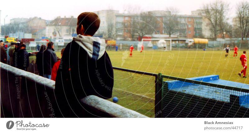 Human being Man Boy (child) Wall (barrier) Soccer Back Stadium