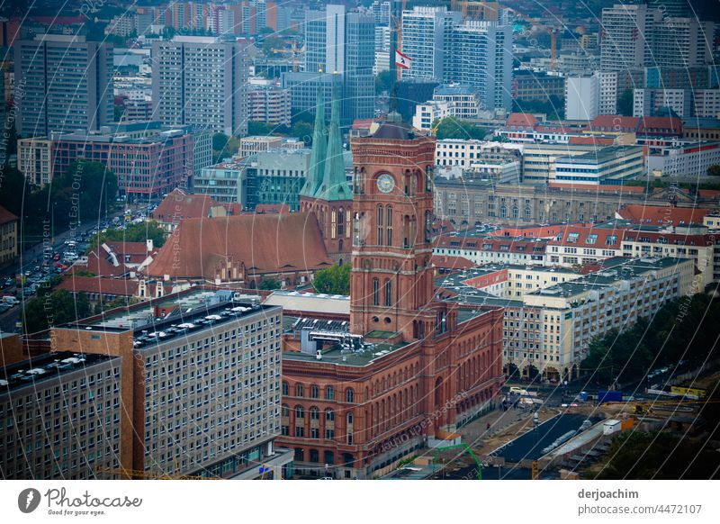 Amidst the skyscrapers in the city stands the Red City Hall in Berlin. City hall Colour photo Landmark Architecture Tourist Attraction Deserted