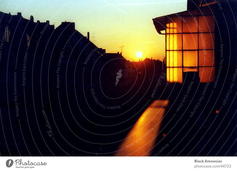 dumdi dumdi dumdi House (Residential Structure) Facade Sunset Balcony Street Handrail Silhouette