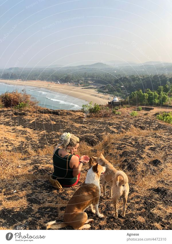 Girl with dogs in India Woman SEA Dog seaview indian lifestyle Nature Sunrise