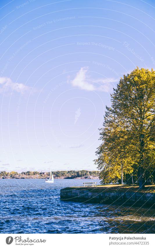 Sailboat on the see by the island Suomenlinna in Finland sea Baltic Sea suomenlinna fall Autumn Landscape sunny Helsinki