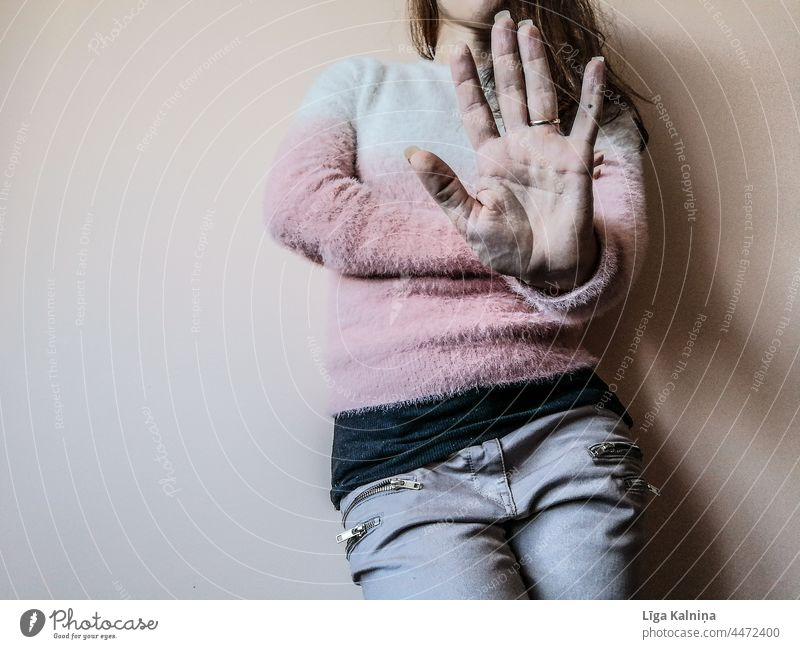 Female legs against wall showing stop gesture Stop Gesture Hand concept hand sign woman no Human being Fingers Adults Palm of the hand body part