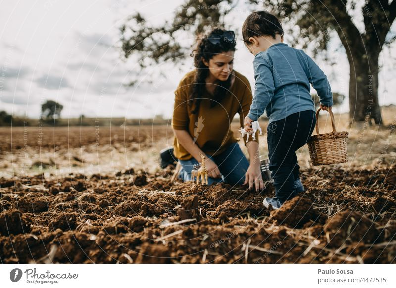 Mother and Son playing on plowed field motherhood Mother with child Child two people togetherness Infancy Together Lifestyle care Woman Autumn Authentic
