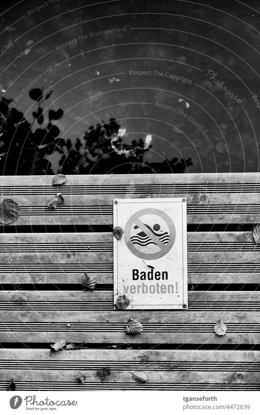 bathing prohibited sign Signs and labeling Prohibition sign Signage forbidden Deserted Warning label Water Footbridge Characters Clue interdiction Safety Bans