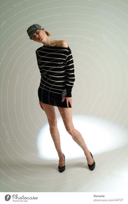 Woman White Legs Hat Sweater Striped Zebra High heels