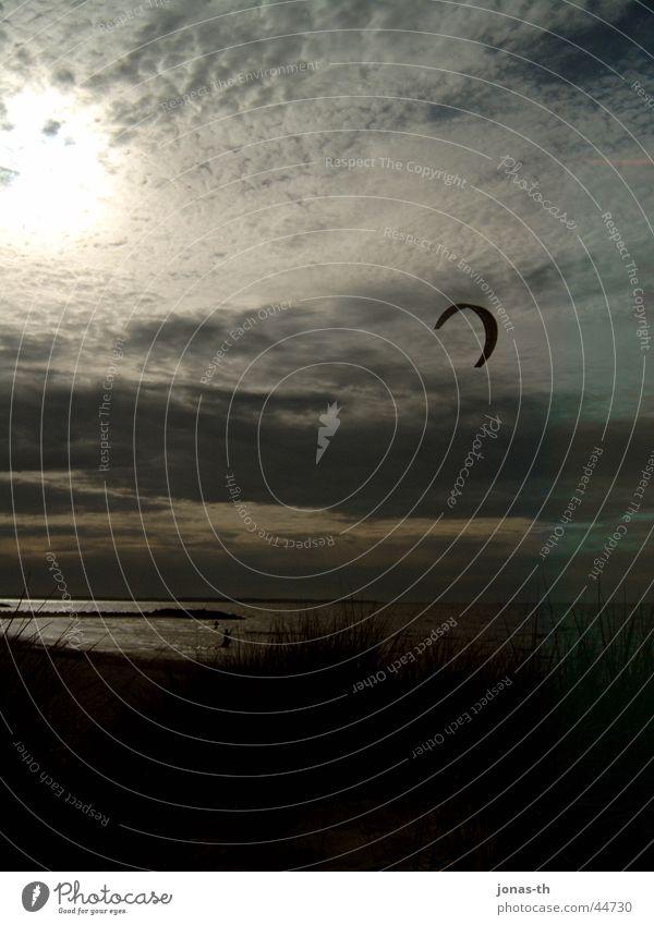 surfer sunset Sunset Clouds Ocean Twilight Kiting Romance Extreme sports Sand Schleswig-Holstein Beaches Nature Landscape