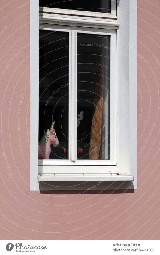 pink unicorn with golden horn stands in the window Window Mythical creature Pink Gold Cor anglais windowsill Insight Vantage point outlook Drape Curtain