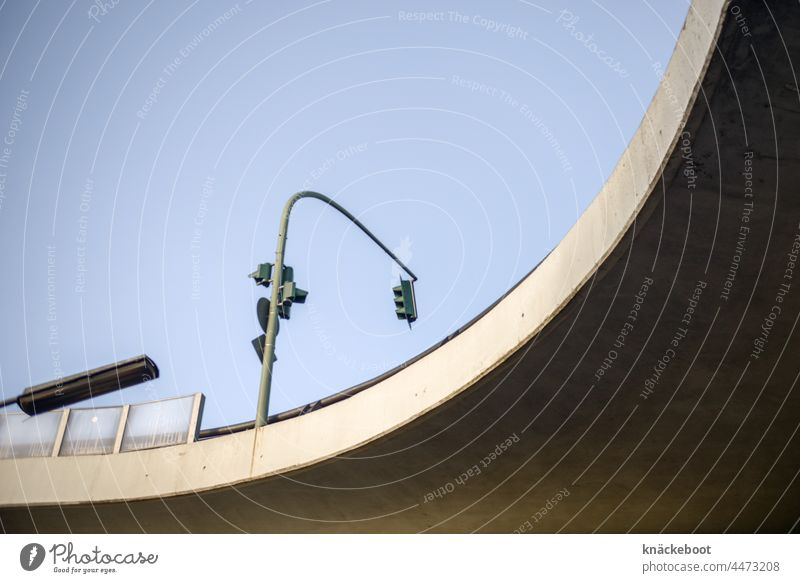 Car-friendly town car-friendly town Concrete Bridge Street Traffic infrastructure Town Day Road traffic Architecture Exterior shot Overpass Traffic light Berlin
