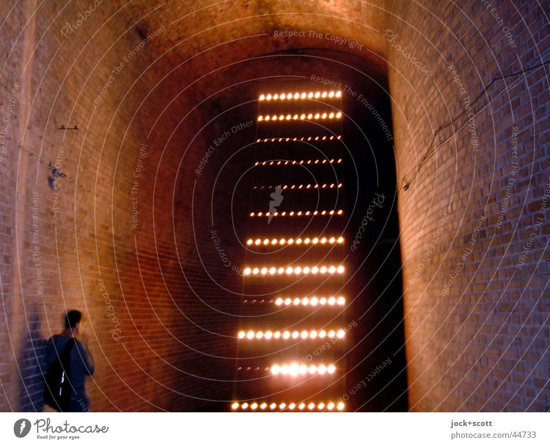 Reservoir with light installation and visitors Ladder Work of art Culture Visual spectacle Wall (building) Vault Brick Stripe Dark Historic Style Flair