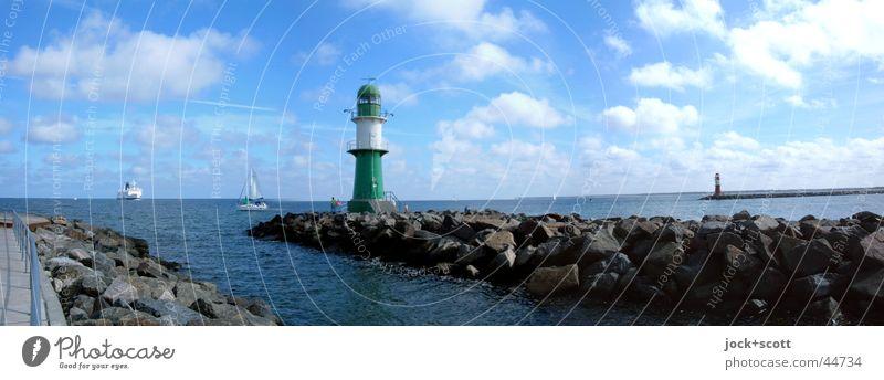 Port entrance Warnemünde Cruise Summer Ocean Clouds Beautiful weather Baltic Sea Warnemuende Harbour Lighthouse Ferry Sailboat Watercraft Stone Maritime Moody