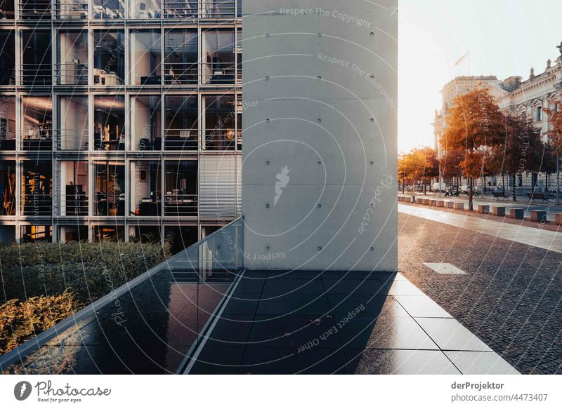 Reichstag in the morning in and Paul Löbe House autumn Downtown Berlin Sandstone Concrete Central perspective Abstract Pattern Structures and shapes Morning