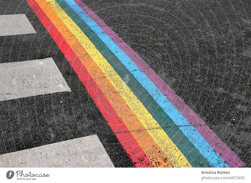 zebra crossing and rainbow Zebra crossing Rainbow variegated colored colors Prismatic colors Sign symbol symbolic Street out Transport LGBTQ gay lesbian