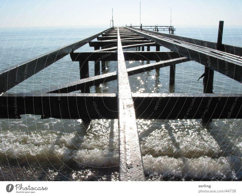 jetty Ocean Jetty Railroad tracks Glittering reflection Sun Water old metal