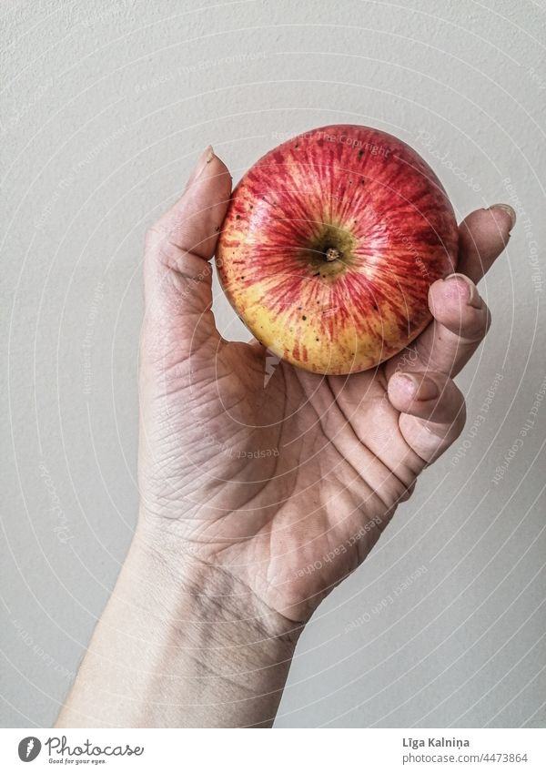Hand holding an Apple Fruit Healthy Red Healthy Eating Food Nutrition Organic produce Colour photo Vegetarian diet Delicious Fresh Diet Vitamin Vitamin-rich