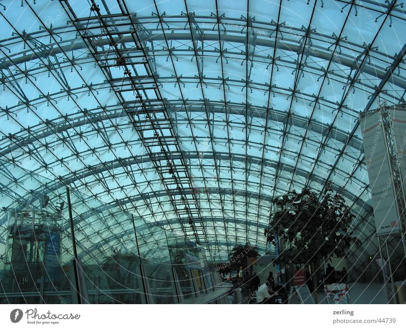 domed roof Roof Frankfurt Airport Construction Arch Modern architecture Architecture Glass Metal large space large rooms Sky