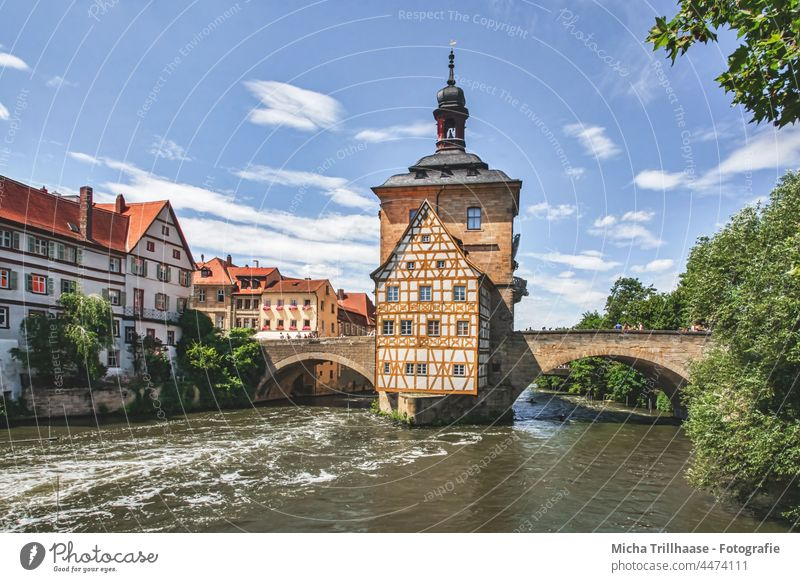 Old town hall and old town of Bamberg Bavaria Franconia Town City hall Old city hall River Water Dome spires Spires houses Building Architecture Bridge Tourism
