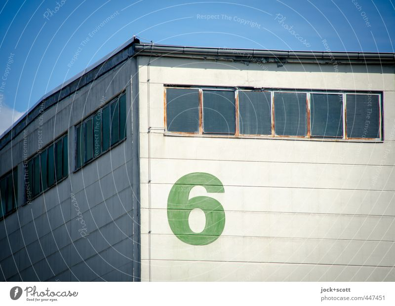 6 at the corner Cloudless sky Berlin Outskirts Building Depot Wall (barrier) Wall (building) Facade Window Eaves Corner Lightning rod Stone Line Stripe