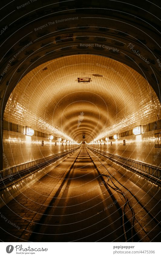 Old Elbe Tunnel Elbtunnel St Pauli-Elbtunnel Hamburg Street Interior shot Light Artificial light Historic Dark Architecture Underground Landmark
