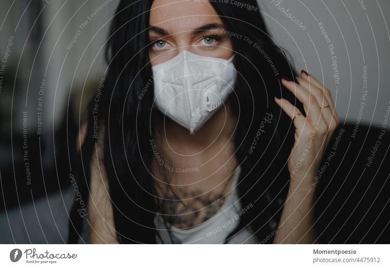 Woman with mask Mask corona coronavirus corona crisis Corona virus Corona Pandemic coronavirus SARS-CoV-2 Corona Test corona virus flu wave of flu Common cold
