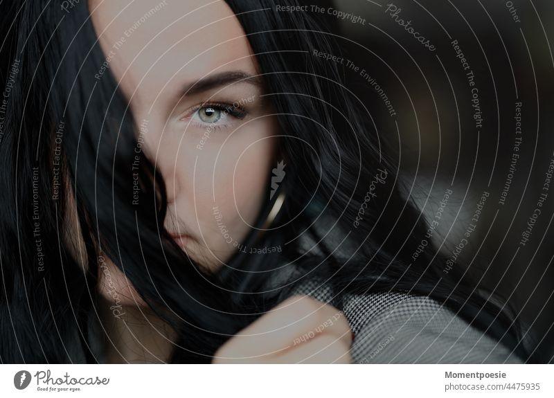 black-haired woman black hair Black-haired Hair and hairstyles Strand of hair Dark green eyes blue eyes Feminine pretty Beauty & Beauty Woman portrait