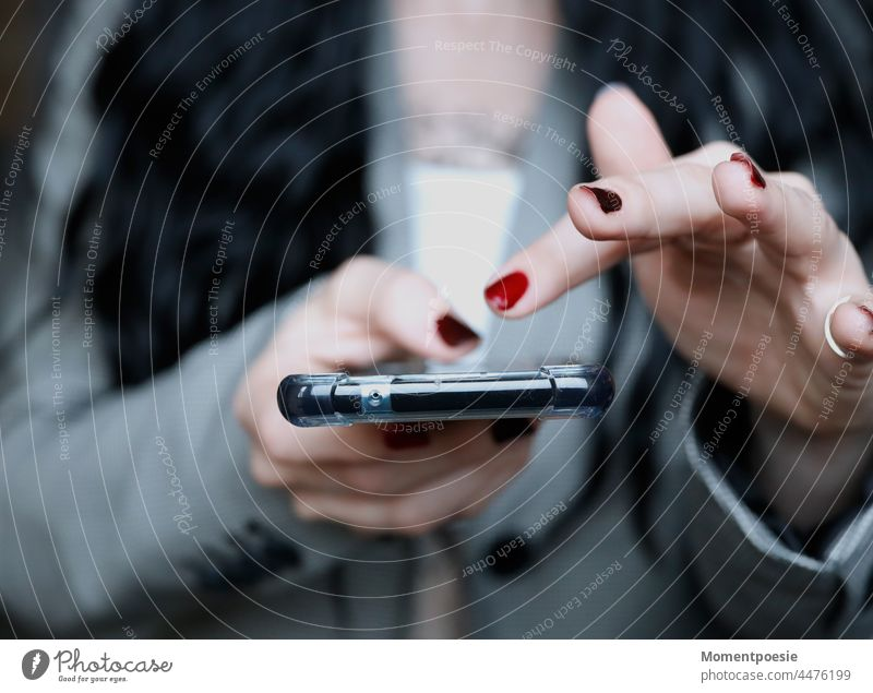 mobile Cellphone Hand Typing Fingers liken sb. social networks social media Internet Technology Communication Telephone Lifestyle Online smartphone Colour photo