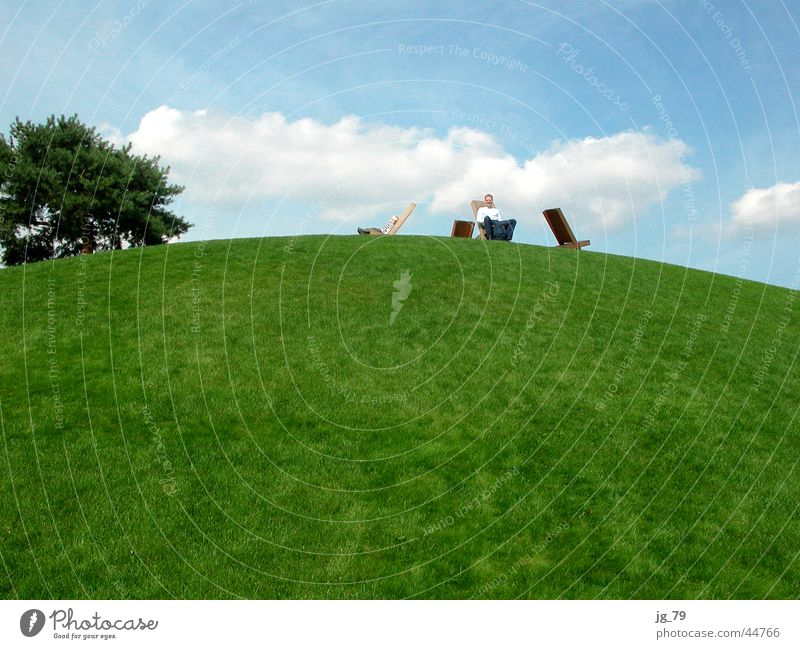 Man Nature Sky Tree Green Blue Clouds Relaxation Grass Mountain Park Trip Break Bench Vantage point Chair
